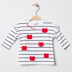 T-shirt manches longues à rayures horizontales et coeurs pailletés
