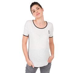 T-shirt met korte mouwen met print en contrasterende bies