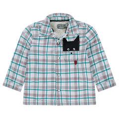 Flanellen overhemd met ruitjes, voering van sherpastof en decoratief zakje