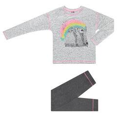 Junior - Pyjama van jerseystof met fotoprint regenboog en effen legging