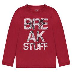 Junior - T-shirt met lange mouwen van effen jerseystof en fantasieprint