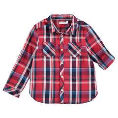 Rood hemd met lange mouwen, grote ruiten en zakken