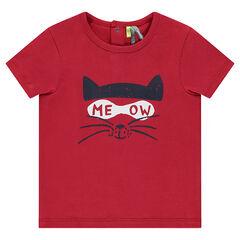 T-shirt met korte mouwen uit jerseystof met kattenprint