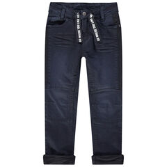 Jeans met used en crinkle-effect en met aantreklintjes met print
