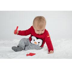 Sweater van effen molton met geborduurde pinguïn