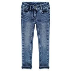 Jeans slim en molleton effet denim