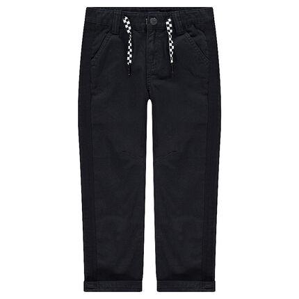 Pantalon uni en twill avec cordons damiers