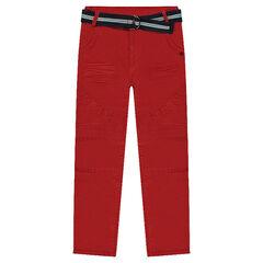 Pantalon en toile effet crinkle avec ceinture amovible