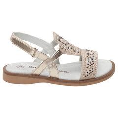 Gouden sandalen met reliëfmotief