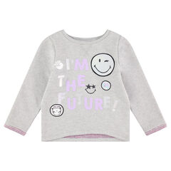 Sweat en molleton gris chiné avec message et prints ©Smiley