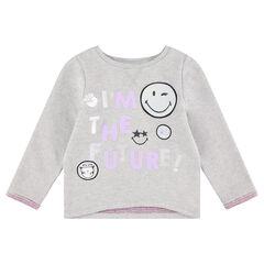 Sweater van grijs gemeleerde molton met boodschap en prints van ©Smiley