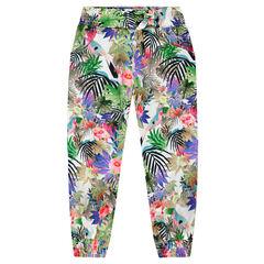 Pantalon fluide imprimé tropical