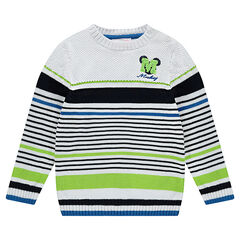 Pull en tricot à rayures contrastées Disney avec serti Mickey brodé