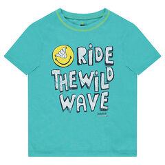Junior - T-shirt met korte mouwen van jerseystof met ©Smiley-print