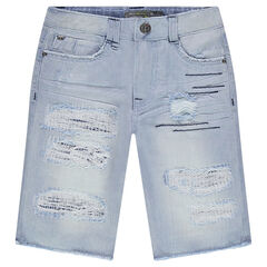 Junior - Bermuda en jeans destroy bleach