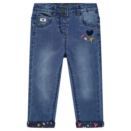 Slim-fit jeans met borduurwerk