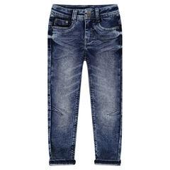 Jeans van molton met used effect