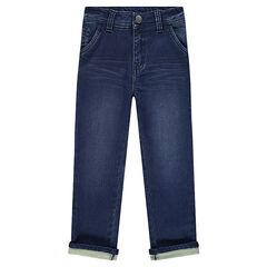 Jeans uit molton met used en crinckle effect