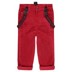 Pantalon en velours rouge avec bretelles élastiquées amovibles