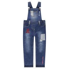 Salopette uit jeans met used-effect en decoratieve badges en borduurwerk