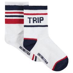 Lot de 2 paires de chaussettes à rayures contrastées