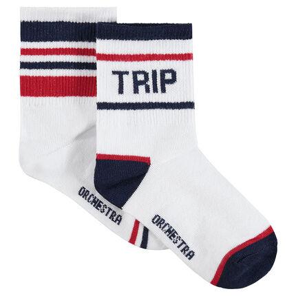 Set met 2 paar sokken met contrasterende strepen
