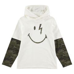 Tee-shirt manches longues à capuche effet 2 en 1 avec print ©Smiley