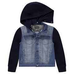 Junior - Veste en jeans effet used bi-matière à capuche amovible