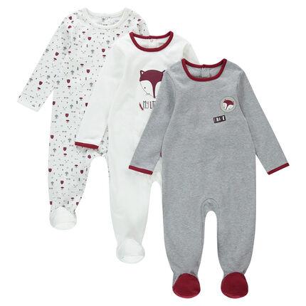 Set met 3 pyjama's van jerseystof met vossenprint en badges