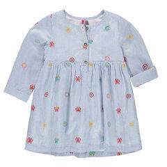Jurk met korte mouwen in hemdstijl met fijne streepjes en geborduurde motieven
