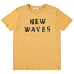 Junior - T-shirt met korte mouwen van gele jerseystof met print met boodschap