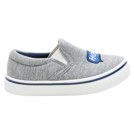 Lage sneakers van linnen met elastieken en geborduurde bel en ©Smiley, van maat 24 tot 29