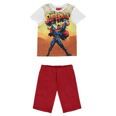 Pyjama met T-shirt met korte mouwen met DC Comics Superman print en met bermuda