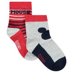 Lot de 2 paires de chaussettes motif Mickey ©Disney / rayées en jacquard