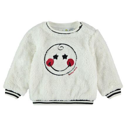 Sweater van sherpastof met ©Smiley geborduurd op de voorzijde