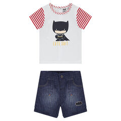 Ensemble van T-shirt met Batmanprint en bermuda van chambray met used effect