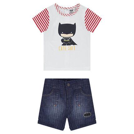 Ensemble tee-shirt print Batman et bermuda en chambray effet used