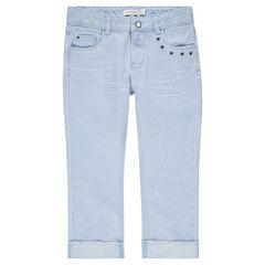 Junior - Pantacourt en jeans effet used avec rivets fantaisie