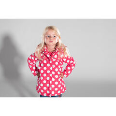"Rubberen windstopper met stippenprint ""all-over"" en sherpavoering"