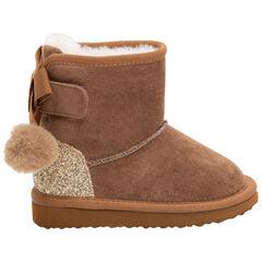 1/2 bottes effet daim camel avec paillettes et pompons au dos