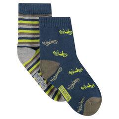 Set met 2 paar matching sokken met motieven/strepen van jacquard