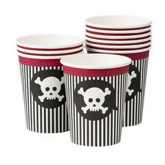x 10 gobelets Pirate motif tête de mort