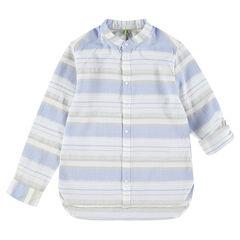 Junior - Chemise de cérémonie manches longues à rayures contrastées