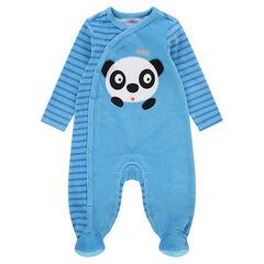 Pyjama van velours met streepjes en geborduurde panda