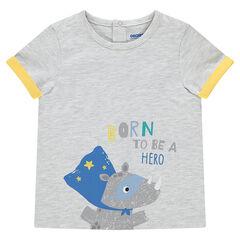 Gemêleerd T-shirt met korte mouwen en opdruk met dier en boodschap