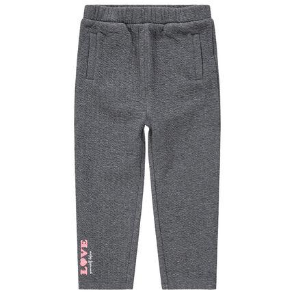 Pantalon de jogging en molleton chiné avec inscription contrastée
