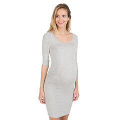 Effen zwangerschapsjurk uit tricot met driekwartmouwen