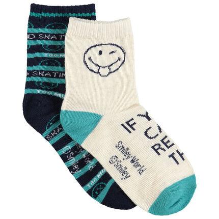 Set met 2 paar matching sokken met Smiley-motief van jacquard