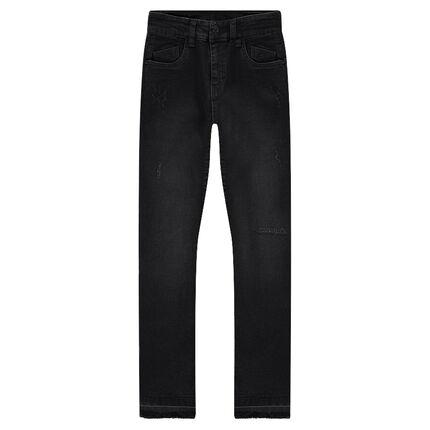 Junior - Slim-fit jeans met used-effect en losgenaaide zoom