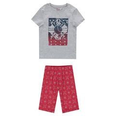 Junior - Pyjama van jerseystof met print in sportieve stijl